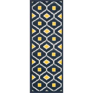 Palm Navy/ Lemon Geometric Rug (1'8 x 5')