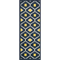 "Palm Navy/ Lemon Geometric Rug (1'8 x 5') - 1'8"" x 4'11"""