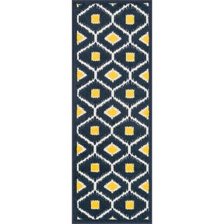 Palm Navy/ Lemon Geometric Rug (1'8 x 5')