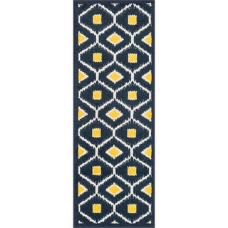 "Palm Navy/ Lemon Geometric Rug (1'8 x 5') - 1'8"" x 4'11"""
