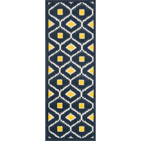 "Palm Navy/ Lemon Geometric Rug - 1'8"" x 4'11"""