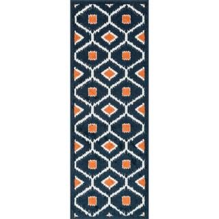 Palm Navy/ Orange Geometric Rug (1'8 x 5')