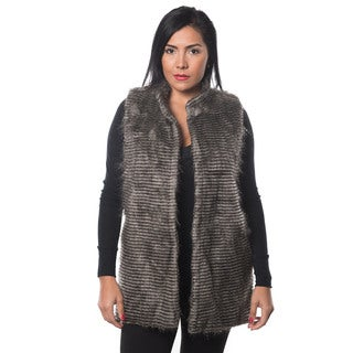 Special One Women's Faux Fur Open Front Mid Length Vest