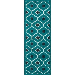 Palm Teal/ Navy Geometric Rug (1'8 x 5')
