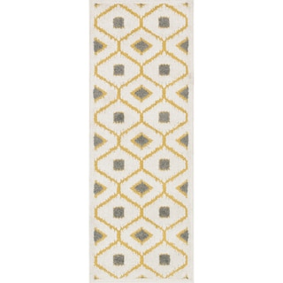 Palm Citron/ Ivory Geometric Rug (1'8 x 5')