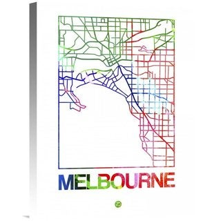 Naxart Studio 'Melbourne Watercolor Street Map' Stretched Canvas Wall Art