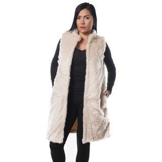 Special One Women's Beige Faux Fur Open Front Trench Coat Vest
