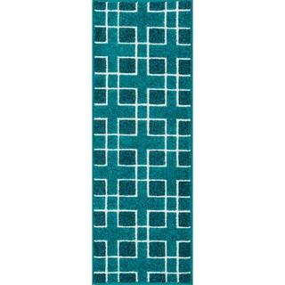 Palm Peacock/ Ivory Geometric Rug (1'8 x 5')