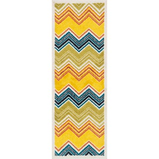 "Palm Ivory/ Multi Chevron Rug - 1'8"" x 4'11"""