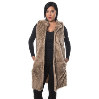 Special One Women's Brown Faux Fur Open Front Trench Coat Vest