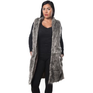 Special One Women's Grey Faux Fur Open-front Trench Coat Vest