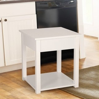 2017 Adeco Mordern Home White Ivory Square Side/ End Table Night Stand