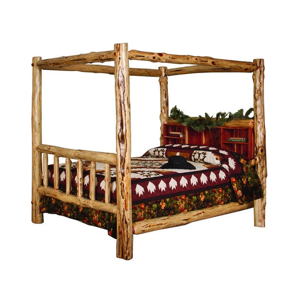 RUSTIC RED CEDAR LOG CANOPY BED  sc 1 st  Overstock.com & RUSTIC RED CEDAR LOG CANOPY BED - Free Shipping Today - Overstock ...