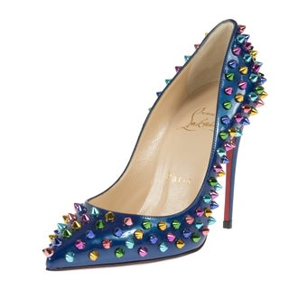 Christian Louboutin Follie Spike Blue Patent Leather 100 Pumps