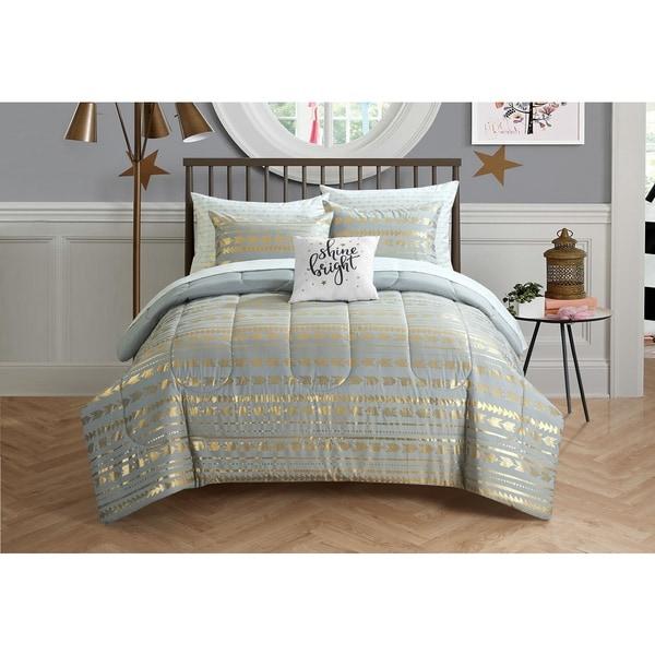 Latitude Camelia Metallic Arrows 8-piece Bed in a Bag Bedding Set