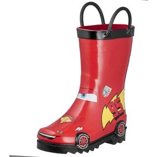 Disney Cars Boys' Toddler/Kids' Lightning McQueen Red Rubber Rain Boots