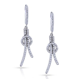 Annello by Kobelli 10k White Gold Diamond Open Loop Knot Dangle Earrings (H, I2)