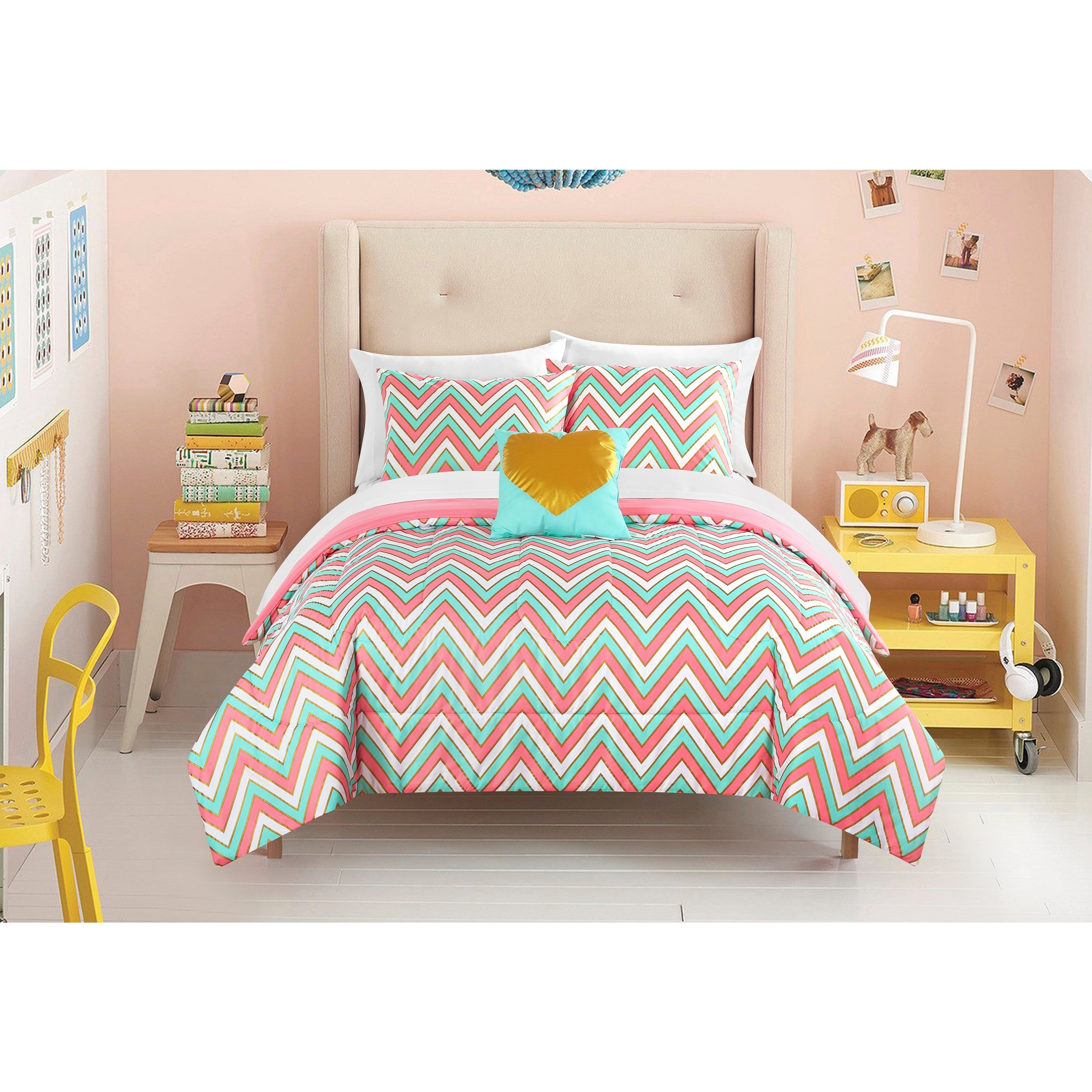 Laude Gilded Chevron 8 Piece Bed In A Bag Bedding Set On Free Shipping Today 14086587 Full