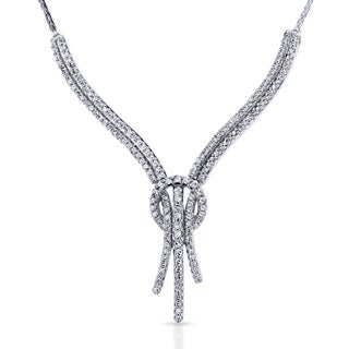 Annello by Kobelli 10k White Gold Diamond Open Loop Knot Stringy Flat Wheat Chain Anti-Tangle Necklace (H, I2)