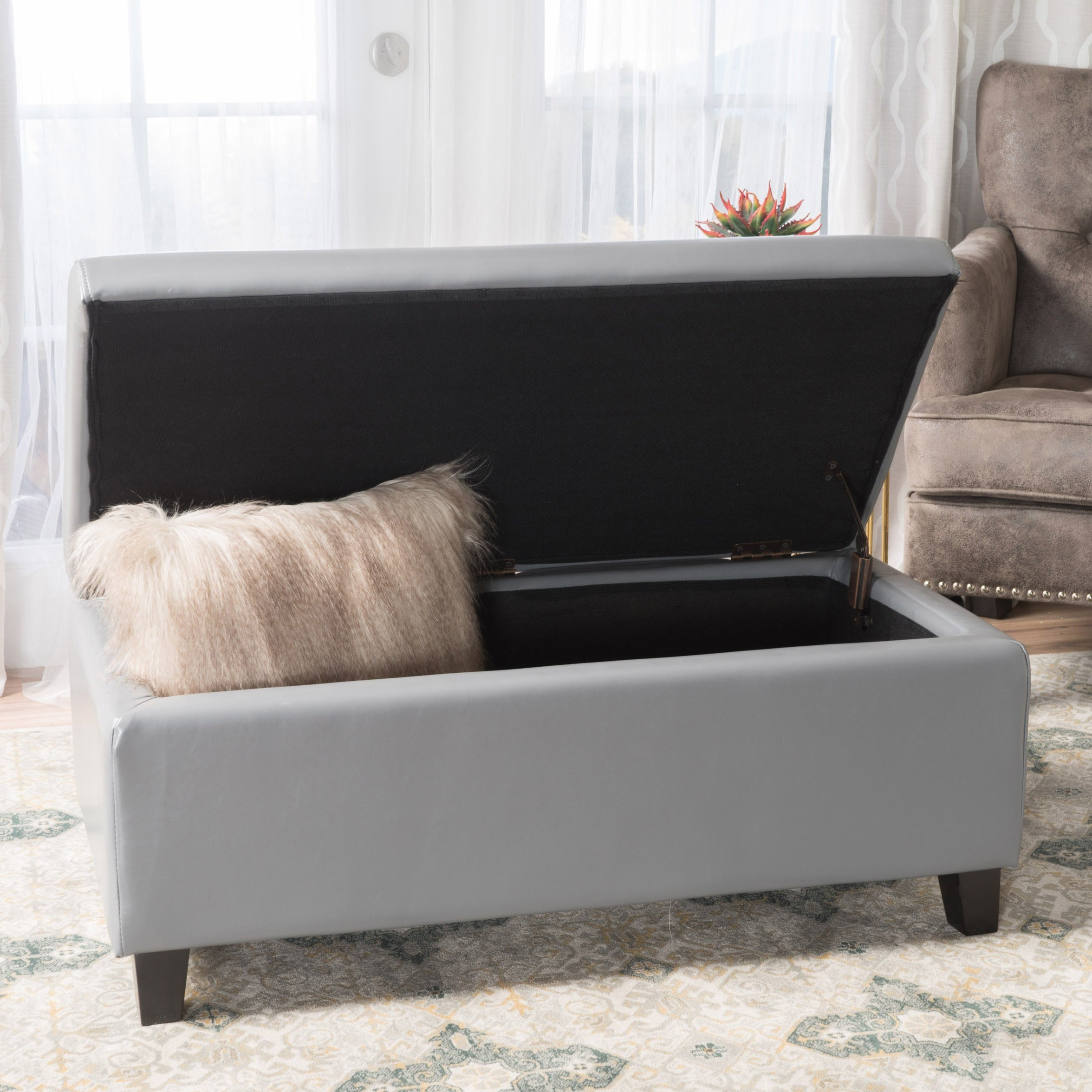 Breanna Contemporary Upholstered Storage Ottoman By Christopher Knight Home Overstock 14086656 Teal