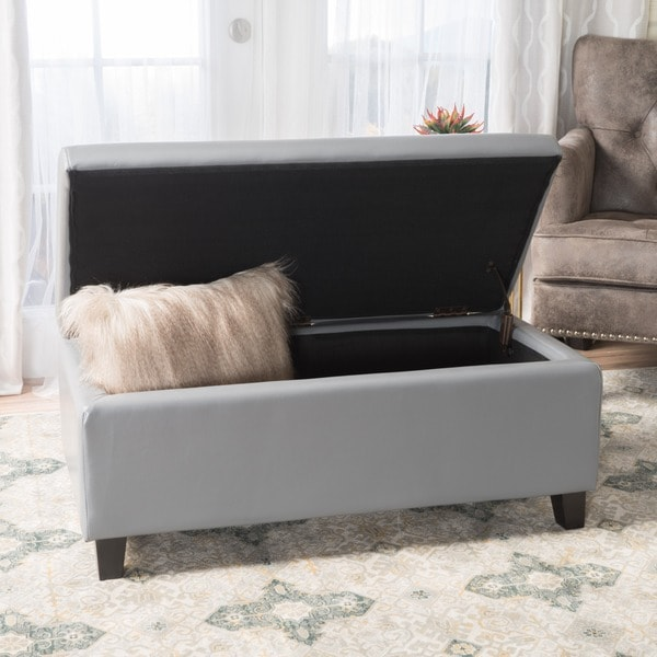 Beautiful Breanna Leather Storage Ottoman By Christopher Knight Home
