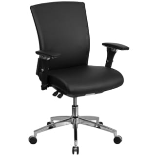 Marco Multi-Shift Black Leather Executive Adjustable Swivel Office Chair with Height Adjustable Arms