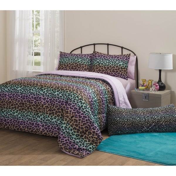 Latitude Ombre Rainbow Cheetah 7-piece Bed in a Bag with Sheet Set