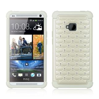 Insten White Hard Snap-on Dual Layer Hybrid Case Cover with Diamond For HTC One M7