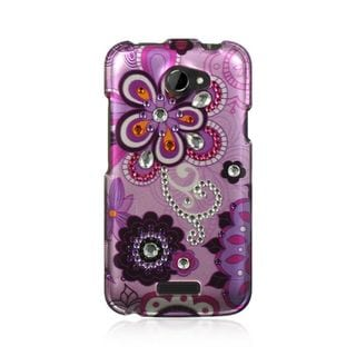 Insten Purple Hard Snap-on Rhinestone Bling Case Cover For HTC One X