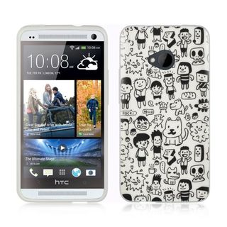 Insten White/ Black TPU Rubber Candy Skin Case Cover For HTC One M7