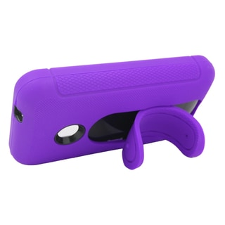 Insten Purple/ Black Soft Silicone/ PC Dual Layer Hybrid Rubber Case Cover with Stand For Nokia Lumia 530