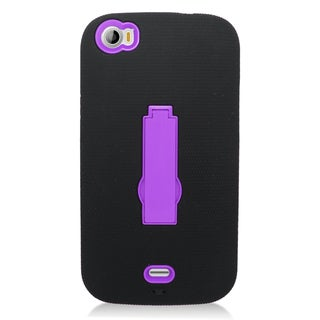 Insten Black/ Purple Symbiosis Soft Silicone/ PC Dual Layer Hybrid Rubber Case Cover with Stand For BLU Life View
