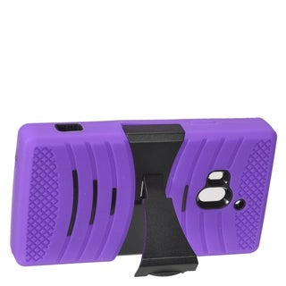Insten Purple/ Black Wave Symbiosis Soft Silicone/ PC Dual Layer Hybrid Rubber Case Cover with Stand For Coolpad Rogue