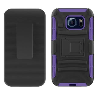 Insten Black/ Purple Hard PC/ Silicone Dual Layer Hybrid Case Cover with Stand/ Holster For Samsung Galaxy S7