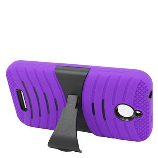 Insten Purple/ Black Wave Symbiosis Soft Silicone/ PC Dual Layer Hybrid Rubber Case Cover with Stand For HTC Desire 510
