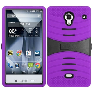 Insten Purple/ Black Soft Silicone/ PC Dual Layer Hybrid Rubber Case Cover with Stand For Sharp Aquos Crystal