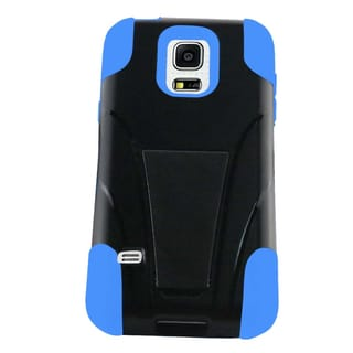 Insten Black/ Blue Hard PC/ Silicone Dual Layer Hybrid Case Cover with Stand For Samsung Galaxy S5 Mini