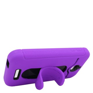 Insten Purple/ Black Soft Silicone/ PC Dual Layer Hybrid Rubber Case Cover with Stand/ Card Slot For HTC Desire 510