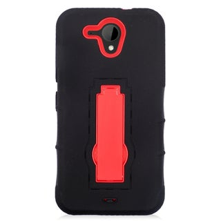 Insten Black/ Red Symbiosis Soft Silicone/ PC Dual Layer Hybrid Rubber Case Cover with Stand For HTC Desire 520