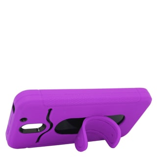 Insten Purple/ Black Soft Silicone/ PC Dual Layer Hybrid Rubber Case Cover with Stand/ Card Slot For HTC Desire 610