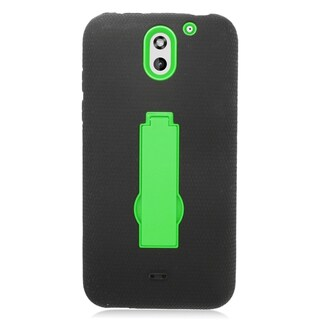 Insten Black/ Green Symbiosis Soft Silicone/ PC Dual Layer Hybrid Rubber Case Cover with Stand For HTC Desire 610