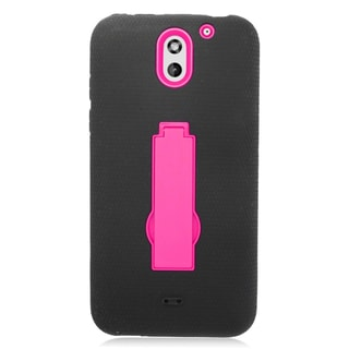 Insten Black/ Pink Symbiosis Soft Silicone/ PC Dual Layer Hybrid Rubber Case Cover with Stand For HTC Desire 610