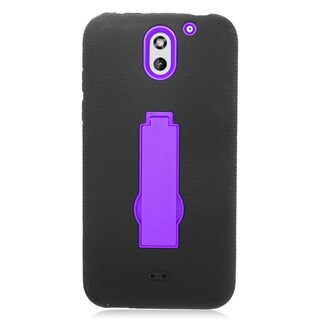 Insten Black/ Purple Symbiosis Soft Silicone/ PC Dual Layer Hybrid Rubber Case Cover with Stand For HTC Desire 610