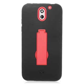 Insten Black/ Red Symbiosis Soft Silicone/ PC Dual Layer Hybrid Rubber Case Cover with Stand For HTC Desire 610