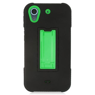 Insten Black/ Green Symbiosis Soft Silicone/ PC Dual Layer Hybrid Rubber Case Cover with Stand For HTC Desire 626