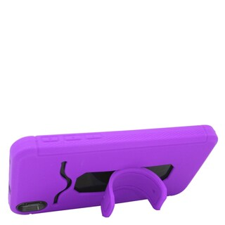 Insten Purple/ Black Soft Silicone/ PC Dual Layer Hybrid Rubber Case Cover with Stand/ Card Slot For HTC Desire 816