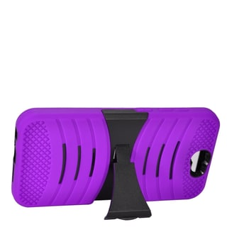 Insten Purple/ Black Wave Symbiosis Soft Silicone/ PC Dual Layer Hybrid Rubber Case Cover with Stand For HTC One A9