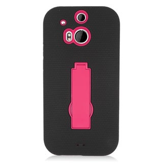 Insten Black/ Hot Pink Symbiosis Soft Silicone/ PC Dual Layer Hybrid Rubber Case Cover with Stand For HTC One M8