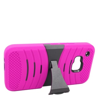 Insten Hot Pink/ Black Wave Symbiosis Soft Silicone/ PC Dual Layer Hybrid Rubber Case Cover with Stand For HTC One M9
