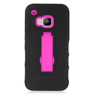 Insten Black/ Hot Pink Symbiosis Soft Silicone/ PC Dual Layer Hybrid Rubber Case Cover with Stand For HTC One M9